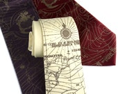 "Maritime map necktie, ""Bermuda Triangle."" Screen printed men's microfiber tie, antique brass ink. Choose color & standard or narrow width."