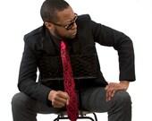 Boudoir Lace necktie. Screen printed tie, black print. Choose standard, narrow or skinny size.