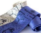 Bermuda Triangle silk necktie. Maritime map, nautical screenprinted men's tie, navy blue print.