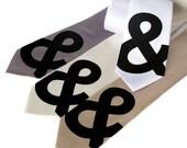 """Ampersand necktie. Minimalist Helvetica """"and symbol"""" screen printed typography nerd microfiber tie. Standard width."""