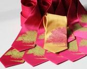Set of 9 mens wedding neckties. Groomsmen wedding tie group discount, matching silkscreen microfiber ties, same design. Your choice of color