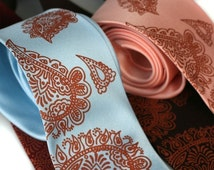 Mehndi Paisley necktie. Traditional Persian print men's tie with copper ink. Choose standard or narrow.