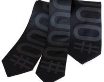 Black Tie silk geek necktie. Web designer hexadecimal screen printed tie. Black pearl ink on black.