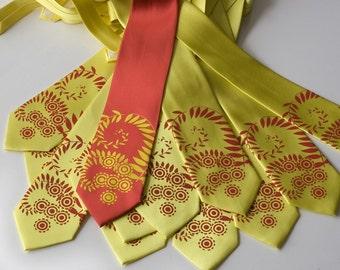 12 Custom Wedding Neckties. Groomsmen gift silkscreened vegan-safe ties with 30% discount. Matching design.