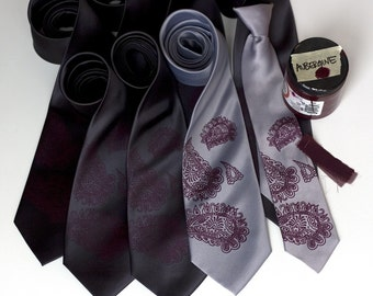 8 custom wedding ties. Groomsmen neckties, 20% wedding group discount, silkscreen matching vegan-safe ties.