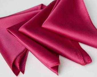 Plain Pocket Squares. Men's Solid Color Handkerchief. Solid color satin hanky, vegan safe microfiber. Choose quantity & color. No print.
