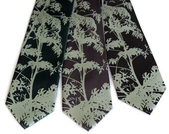 "Wormwood leaves necktie. ""Absinthe Tie."" Screenprinted microfiber tie, sage. Men's silkscreen necktie. Narrow or standard."