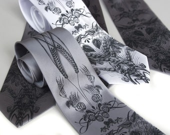 Set of 4 wedding neckties. Groomsmen gift, matching silkscreen design ties, wedding group discount. Custom color microfiber neckties.