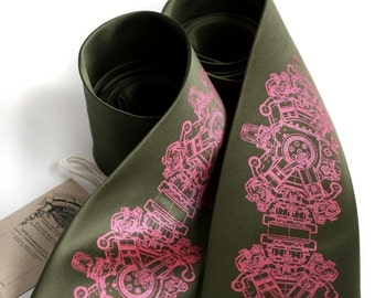 Engine Rosette men's tie, narrow or standard width microfiber screenprinted necktie, fuchsia-berry print on olive and more.