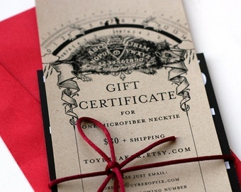 36 Dollar Gift Certificate. Gift Card for Cyberoptix Neckties, Scarves, Bow Ties and Pocket Squares.
