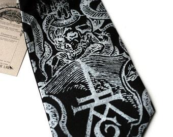 Ex Libris black silk tie, book imprint, antique skull print. Silkscreened necktie, silver screen print.
