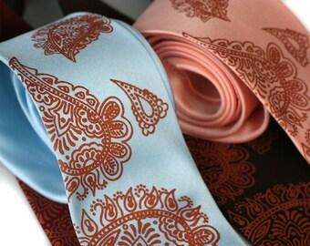Mehndi Paisley necktie. Traditional Persian print men's tie with copper ink. Choose standard or narrow.