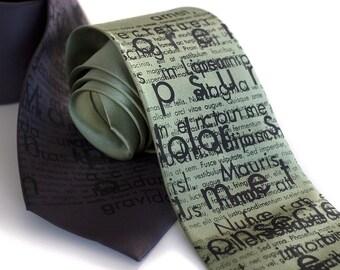 Lorem Ipsum silk necktie. Placeholder silkscreen designer nerd tie. Black screen print.