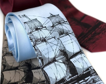Clipper Ship Necktie. Men's sailing ship, schooner, tall ship tie. Black silkscreen print. Choose standard or narrow size.