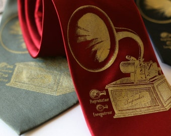 Phonograph necktie. Men's music tie, gold gramophone screenprint. For music lovers. Toybreaker editon.