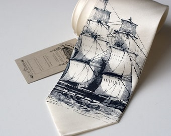 Clipper Ship Necktie. Nautical Silk Sailing Ship men's tie. Navy print on cream, ivory or white tie. Sailor print.