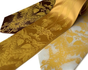Beer tie. Hops, barley and wheat necktie. Screenprinted microfiber. Mustard ink. Standard width.