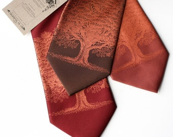 Oak Tree necktie. Tree print tie. Standard or narrow width screen printed microfiber tie, metallic copper ink.