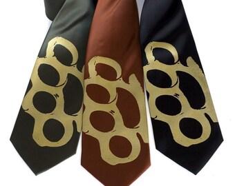 "Brass Knuckles Necktie. ""Knuckle Sandwich"" tie. Silkscreened microfiber knuckle duster necktie. Choose standard or narrow size."