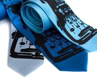 Underwood Typewriter tie - blue silkscreened microfiber necktie. Black ink. Choose standard or narrow.