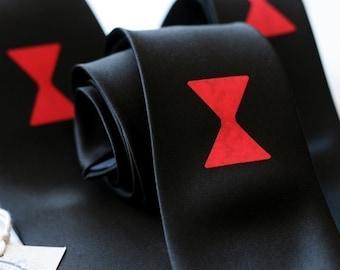 Black widow spider microfiber necktie. Choose skinny, narrow, or standard width tie.