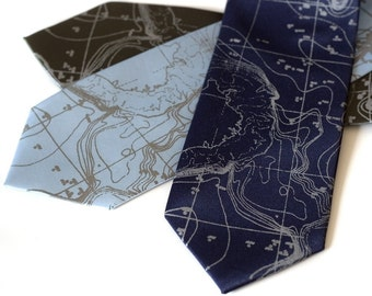 Contour Map Necktie. Scandinavia Topographic map tie. Seafloor map. Dove gray print silkscreen men's necktie. Engineer, ecology gift