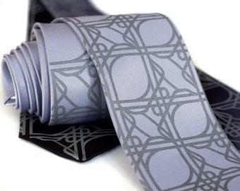 Intersection Knot Necktie. Cloverleaf road juction pattern, screenprinted microfiber tie. Choose standard or narrow.
