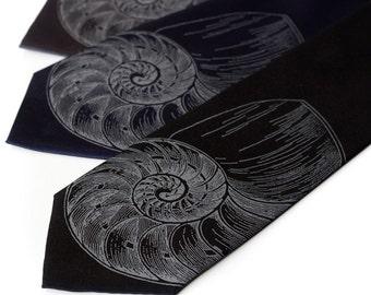Nautilus Shell men's tie. Screenprinted microfiber necktie - golden ratio. Choose narrow or standard width.