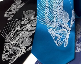 Fish Skeleton necktie. Fisherman's silkscreened microfiber tie.