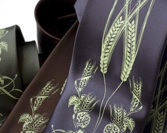 Beer Necktie. Hops, Barley & Wheat print tie. Beer lover, brewer men's tie. Apple green screenprint. Your choice of tie colors and size.