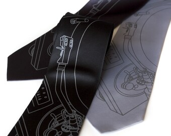 Record Player necktie. Turntable tie. Men's silkscreen necktie, dove grey print. Choose standard, narrow or extra long.
