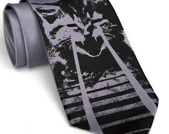 Laser Cat Tie. Men's necktie. OMG cats. Cat video, cat lover gift. Choose standard or narrow size. Unique, cool ties!