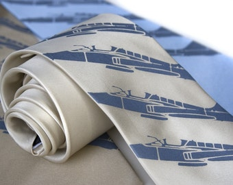 Plane Stripe silkscreen silk necktie. Fighter jet print. Steel blue ink on a range of silk colors.