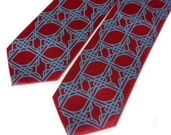 2 silk neckties - custom color groomsmen silkscreen matching ties, same design.