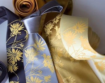 Wedding microfiber neckties, set of 6 ties. 20% discount. Groomsmen matching silkscreen printed ties. Custom color microfiber ties.