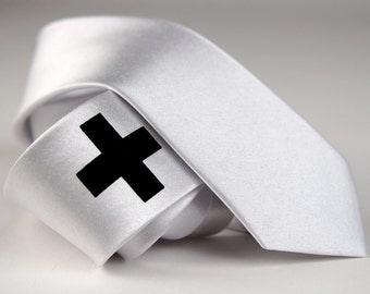 "Men's white skinny tie, ""Medic"" - screen printed necktie, cross design. Microfiber, black print."