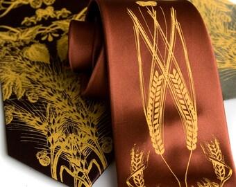Beer tie. Hops, barley and wheat men's necktie. Silkscreened mustard yellow ink. Microfiber. Choose width and color.