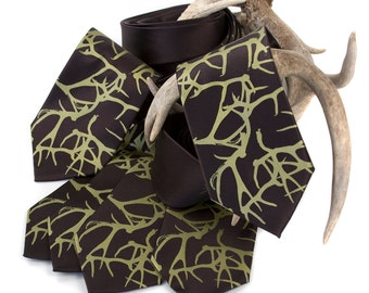 "6 silk wedding neckties. ""Woodland Wedding."" Groomsmen ties, group package discount. Silkscreened men's ties."