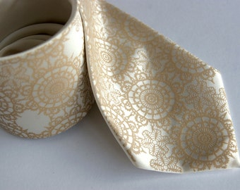 Lace Necktie. Cottage Lace, Doily Print cream silk tie. Tone on tone mens necktie. Warm cream screen print.