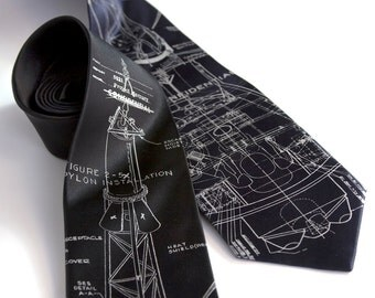 Project Mercury Tie. Rocket science men's silk necktie. Taupe screen print on black, navy, charcoal & more. Space enthusiast gift.