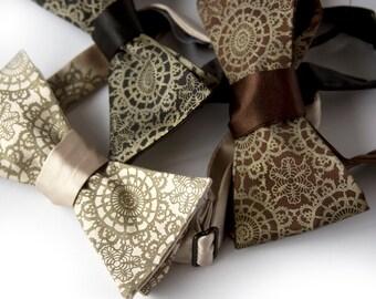 10 wedding bow ties. Silkscreened groomsmen ties, matching design - group discount. Freestyle, self-tie bowties.