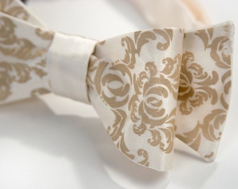 Cream damask bow tie. Self-tie, freestyle bow tie. Silkscreened warm cream print. Your choice of colors.