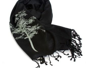 Mountain Aspen tree scarf. Large black Pashmina. Sage green screenprint. Unisex.