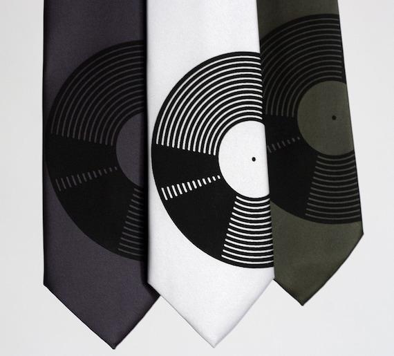 Vinyl Record, silkscreen NARROW necktie, microfiber.