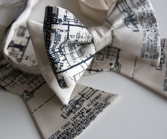 Architect Bow Tie. Blueprint bowtie. Men's bow tie, navy silkscreen print on cream bowtie & more. Perfect for architects, urban planners.