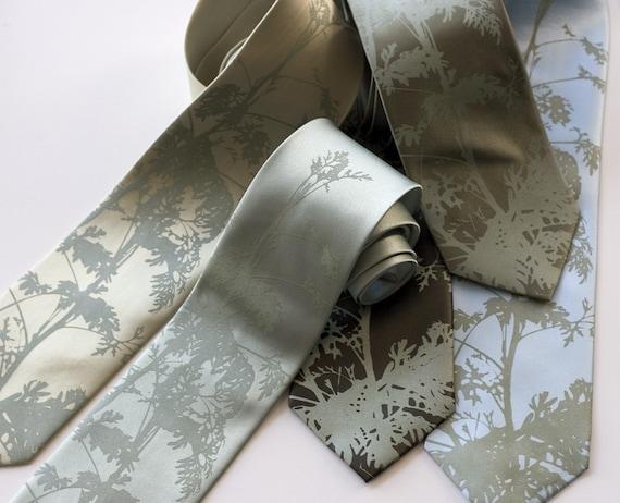Wedding Tie Set. 5 groomsmen neckties, 20% group discount. Leaf print and more! Matching screenprinted vegan-safe microfiber ties.