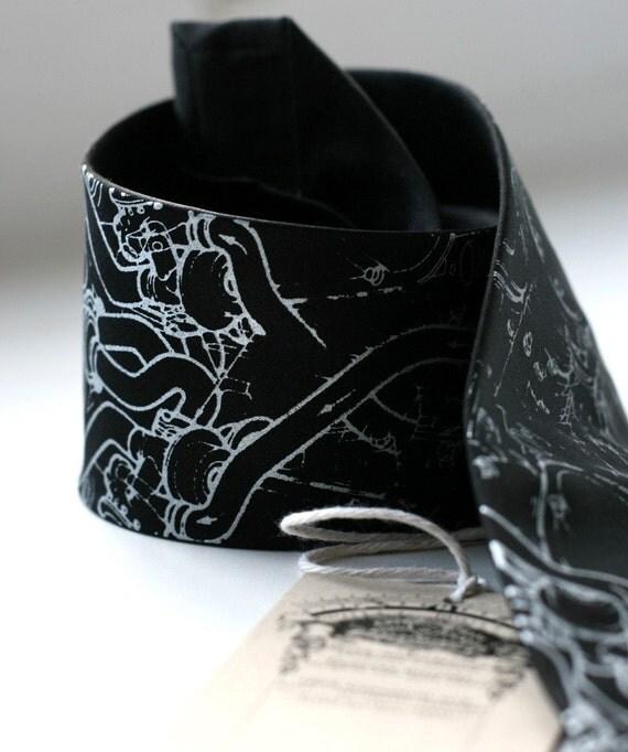 Exhaust Pipes silk necktie. Silkscreened automotive black tie, silver print.