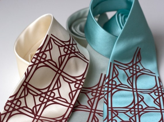Intersection Knot mens tie. Quatrefoil knotwork automotive silk necktie, Cloverleaf road junction tie. Crimson print.