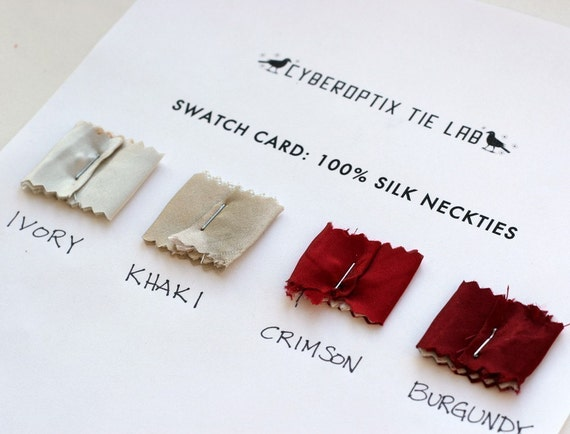 4 silk tie swatches. Silk necktie fabric samples. Color card for custom orders Choose from over 40 colors.