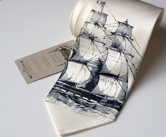 Clipper Ship Necktie. Nautical Silk Sailing Ship men's tie. Navy print on cream, ivory or white tie. Sailor print.